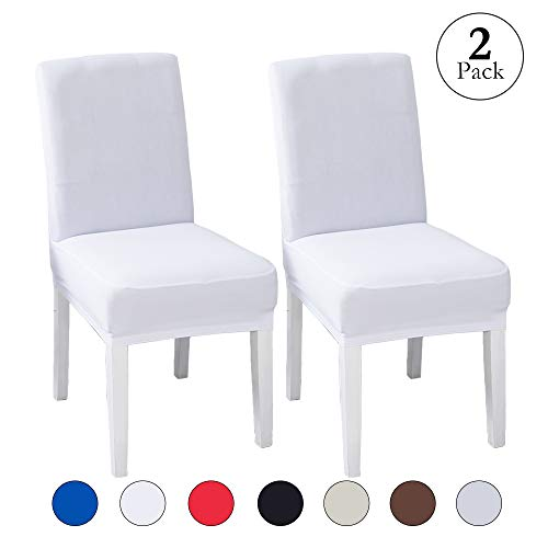 LINENLUX Velvet Spandex Fabric Stretch Dining Room Chair Slipcovers Home Decor (2 Pack, B-White) (Dining Chair Covers White)