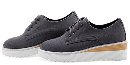 Idifu Femmes Casual Mi-talon Talons Lacets Plate-forme Sneakers Chaussures Gris