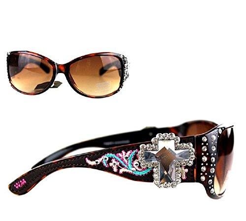 Montana West Embroidery Spiritual Rhinestone Cross Sunglasses Jp (Cheetah Leopard, - Sunglasses Jp