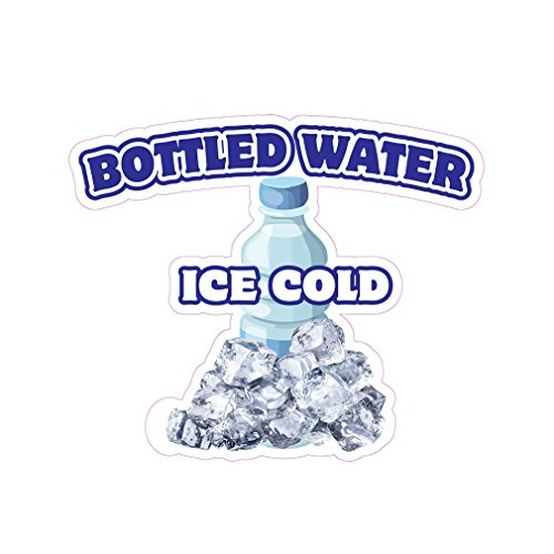 Bottled Water Ice Cold Concession Restaurant Food Truck Die-Cut Vinyl Sticker 10 inches -