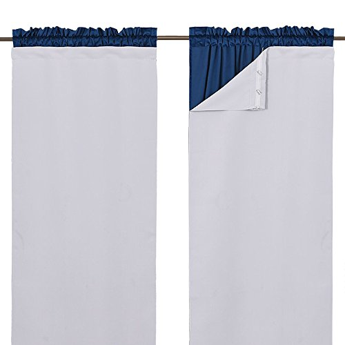 "NICETOWN White Curtain Liner Panels - Black Out Drapes Liners for 63 inch Curtains, Thermal Insulated Curtains Liner for Windows (Set of 2 Panels, Each is 27"" x 60"", Greyish White)"