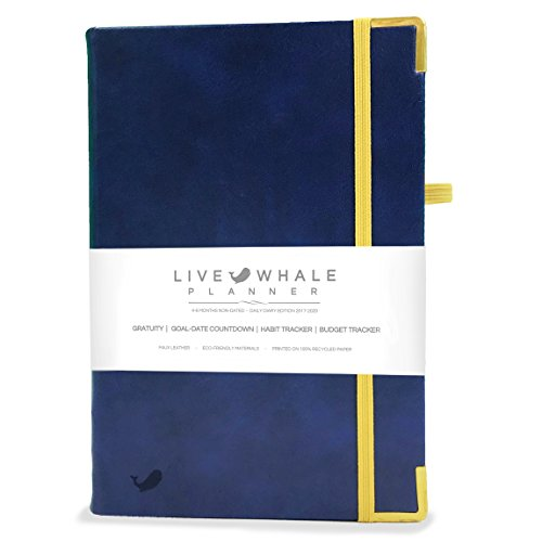 Live Whale Planner - Undated 4-6 Month Daily Planner, Daily Organizer and Gratitude Journal. Crafted to Increase Productivity, Track Goals & Achieve Wellbeing. (Blue)
