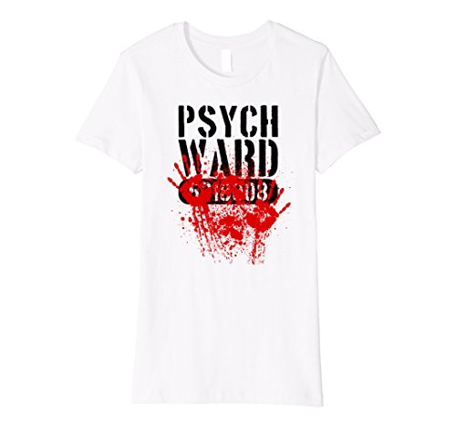 Womens Psych Ward Scary Bloody Horror Halloween Costume Shirt XL White