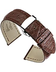 21mm Brown High-end Alligator Leather Watch Straps/Bands Replacement Deployment Double-Push Buckle for Luxury...