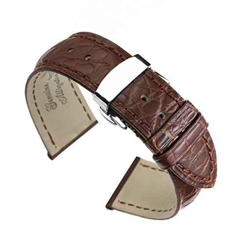 21mm Brown High-end Alligator Leather Watch Straps/Bands Replacement Deployment Double-Push Buckle for Luxury Watches