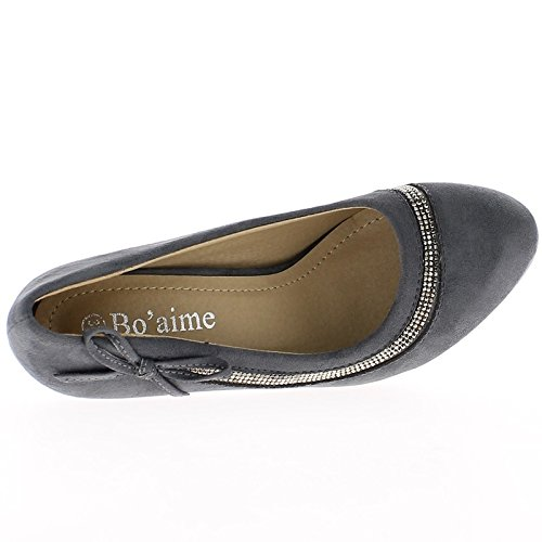 Zapatos mujer gris diamantes de imitación para zapato de tacón y frente 10,5 cm