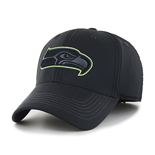 OTS NFL Seattle Seahawks Wilder Center Stretch Fit Hat, Black, Medium/Large