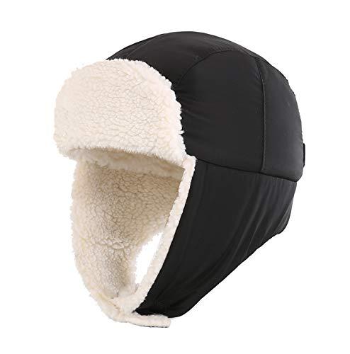 Home Prefer Toddler Boys Winter Hat Sherpa Lined Kids Earflap Hat Child Trapper Hat Aviator Hat Black M
