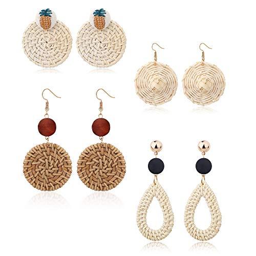 Jstyle Rattan Earrings Dangles for Women Girls Handmade Straw Wicker Woven Drop Earrings Cowrie Shell Summer Earrings ()
