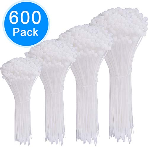 New AUSTOR 600 Pieces Zip Ties White Nylon Cable Zip Ties Heavy Duty Industrial Grade Wire Ties Cable Ties in 4 6 8 10 Inches for Home Office Garage and Workshop(Each Size 150 Pcs) for sale