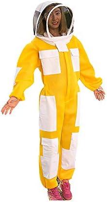 養蜂スーツ/養蜂保護、ベール付き養蜂服、作業服 - 養蜂場、養蜂場、農場および養蜂家のため,Yellow-L