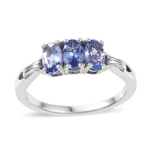 Oval Tanzanite Trilogy Ring 925 Sterling Silver Platinum Plated Jewelry for Women Size 10 Ct ()
