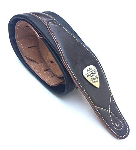 Legato Guitar Strap 3 Inches Wide Double Padded Soft Leather Black Brown