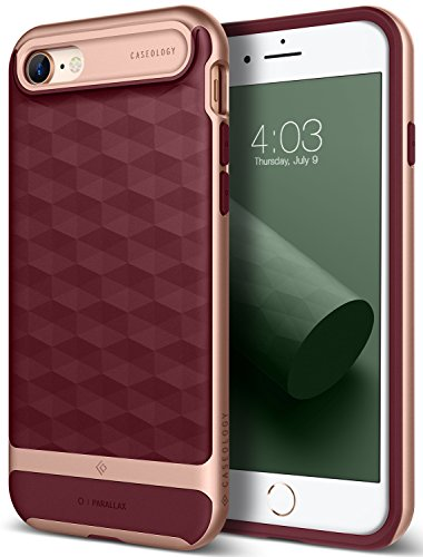 Price comparison product image iPhone 8 Case / iPhone 7 Case Caseology [Parallax Series] Slim Protective Dual Layer Textured Cover Secure Grip Geometric Design for Apple iPhone 8 (2017) / iPhone 7 (2016) - Burgundy / Rose Gold