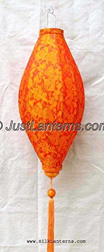 Vietnamese Oval Silk Lantern- (Orange)