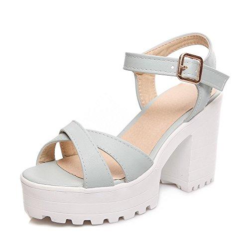 VogueZone009 Women's Buckle Pu Open-Toe High Heels Solid Heeled-Sandals Blue HXRK8RC