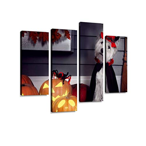 Dog in Halloween Dracula Costume Canvas Wall Art Hanging Paintings Modern Artwork Abstract Picture Prints Home Decoration Gift Unique Designed Framed 4 Panel -