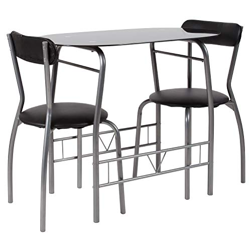Flash Furniture Sutton 3 Piece Space-Saver Bistro Set with Black Glass Top Table and Black Vinyl Padded Chairs