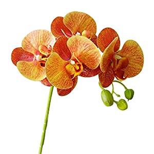 Calcifer 6 Pcs 3D Artificial Real Touch Latex Phalaenopsis Orchid Stem Bouquets Artificial Flowers for Wedding Party Home Garden Decoration (Orange) 95