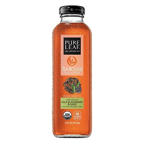 Pure Leaf Tea House Collection, Organic Iced Tea, Wild Blackberry & Sage, 14 Ounce Bottles, Pack of 8