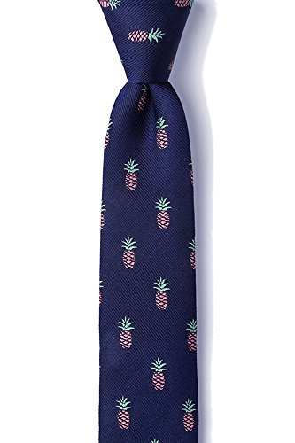 Men's 100% Silk Tropical Island Pineapples Skinny Narrow Tie Necktie (Tie Hawaii)