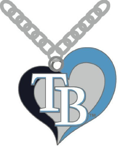 aminco MLB Tampa Bay Rays Swirl Heart Necklace