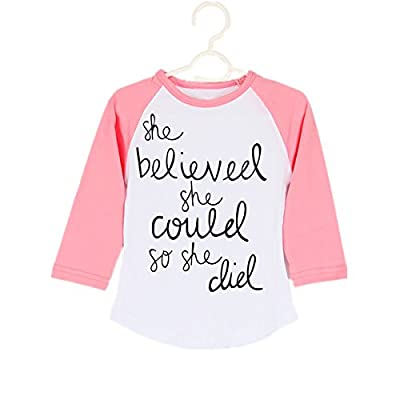 Puseky Funny Toddler Baby Kids Girl Long Sleeve Letter Print T-shirt Casual Tops