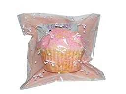 Squishy & Slow Rise Jumbo Strawberry or Lemon Muffin Cupcake (Strawberry with Lemon Drizzle (Pink))