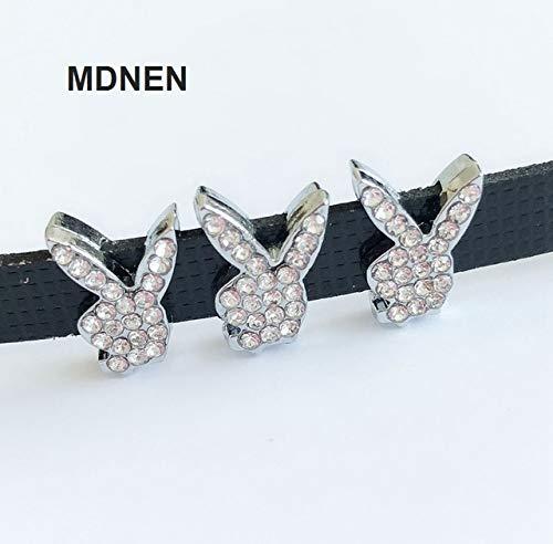 - 50PCS 8MM Rhienstone Rabbit Head Slide Charms Beads Fit 8mm Belts Bracelets