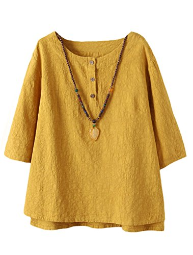 Minibee Women's 3/4 Sleeve Cotton Linen Jacquard Blouses Top T-Shirt (XL, Yellow)