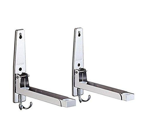 ASIBT 304 Stainless Steel Foldable Double Microwave Oven Wall Mount Bracket Shelf Rack Stand Holder with Hooks (Silver) (Wall Stainless Mount Microwave Steel)