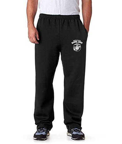(United States Marine Corps Sweatpants Military Mens Pants S-3XL (Black,)