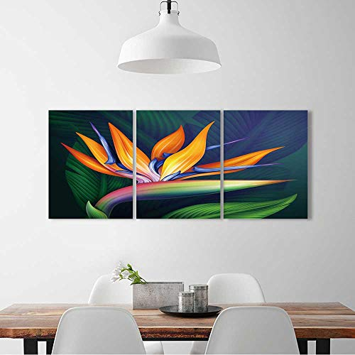 (L-QN 3 Panel Wall Art Set Frameless strelitzia bird paradise exotic flower,botanical the kitchen, dining room, living room, bar so on W32 x H48 x 3pcs)