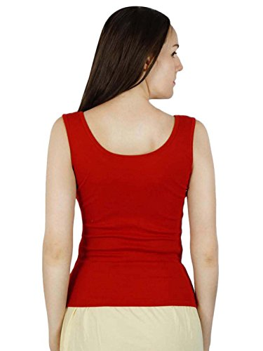Damen ärmelloses Top mit Rundhalsausschnitt cami Leibchen Weste Tank T-Shirt- rot