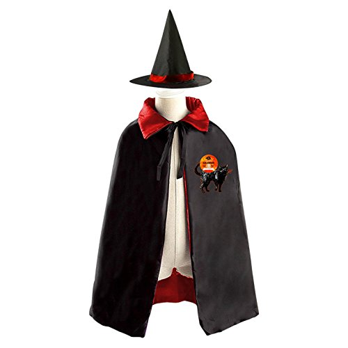 Thanksgiving Themed Party Costumes (Black Cat Themed Kids Halloween Party Costume Cloak Wizard Witch Cape With Hat Set)