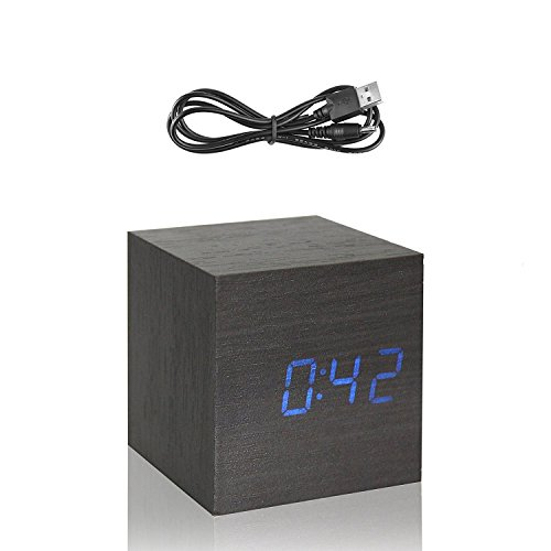 Copoluck Wooden Cube Digital LED Alarm Clock Sound Control Small Square Desk Clock Date Time and Temperature Displaying, Bedside Click Clock for Home Office Kids (Blue Light) - Square Desk Clock