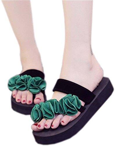 Bettyhome Kvinner Dame Jenter Sexy Böhmen Blomster Thongs Komfortabel  Uformelle Wedges Sandaler Stranden Flip Flops Tøfler