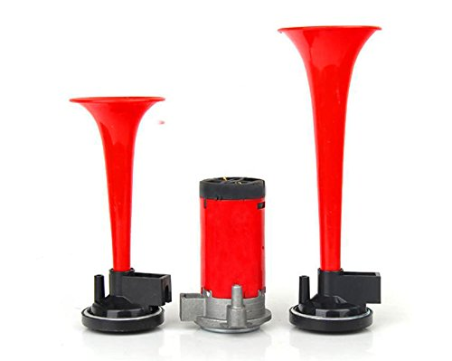 Ferty 12V Air Horn, Dual Trumpet Air Horn Kit for Trucks with Two Trumpets and Compressor for Motorcycle Car Truck Boat Super Loud
