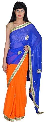 tanishq-designers-womens-silk-saree-blue-and-orange