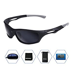 Aoknes Polarized Sports Sunglasses for men women Baseball Running Cycling Fishing Golf Tr90 Durable Frame