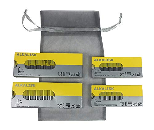 AA & AAA Alkaline Batteries Bundle With Storage Pouch, Includes 20 Count AA & 20 Count AAA IKEA Batteries & 1 Storage Pouch