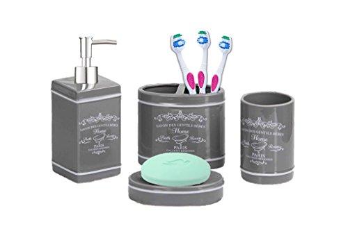 - Deluxe Paris Design Ceramic Bathroom Vanity Accessory Set, Soap Dispenser Pump, Toothbrush Holder, Tumbler, Soap Dish - 4 Piece - GREY