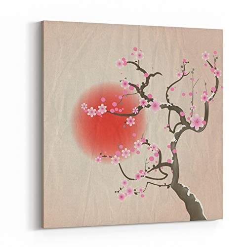 Rosenberry Rooms Canvas Wall Art Prints - Bough of A Cherry Blossom Tree Against Red Sun Crumpled Paper Vintage Effect EPS Vector Format (24 x 24 inches) ()