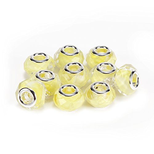 - BRCbeads Top Quality 10Pcs Yellow Color Facted Lampwork Glass Beads Murano Lampwork European Glass Crystal Charm Beads Spacers Fit Troll Chamilia Carlo Biagi Zable Snake Chain Charm Bracelets.