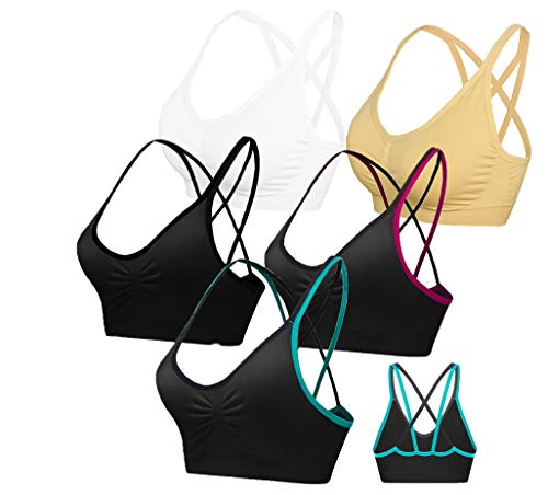 AKAMC Women's Removable Padded Sports Bras Medium Support Workout Yoga Bra 5 Pack Style-DD,XX-Large
