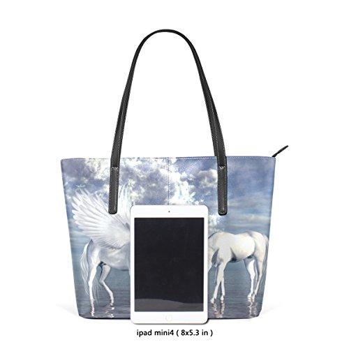 COOSUN Einhorn und Pegasus PU Leder Schultertasche Handtasche und Handtaschen Tasche für Frauen