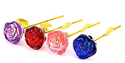 Glass Rose Flower, 24K Gold Plated Long Stem Artificial Rose Flower Anniversary Birthday Valentines Gift for Her