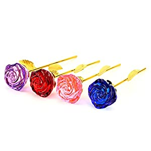 ZJchao Glass Rose Flower, 24K Gold Plated Long Stem Artificial Rose Flower Anniversary Birthday Valentines Gift for Her 93
