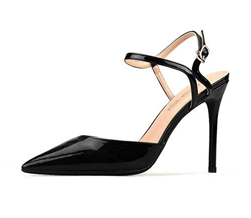 Boda Slingback Pie Black Zapatos Talones Zapatillas Dedo Mujeres Vestir Estilete Para Del Zpl Cerrado Mujer Alto Puntiagudo w1WH6