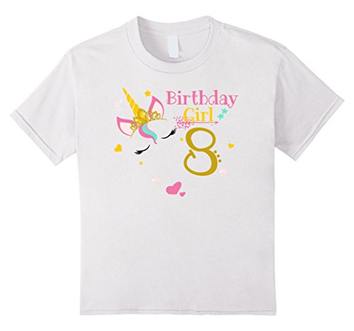 Kids Unicorn 8th Birthday Shirt Girl T 8 White